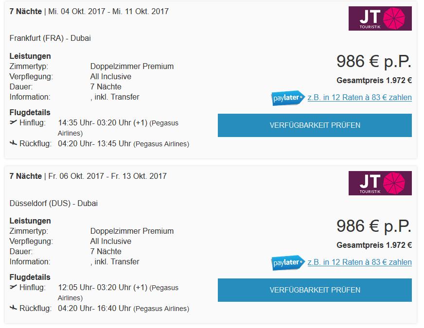Dubai Reisen mit JT