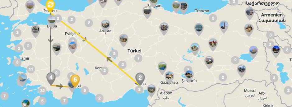 Beispiel einer der zahlreichen Kombi Möglichkeiten in der Türkei